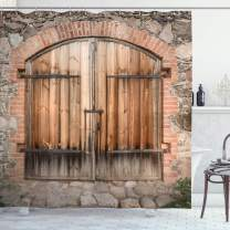 """Ambesonne Rustic Shower Curtain, Wooden Door of a Stone House with Wrought Iron Elements Tuscany Architecture Photo, Cloth Fabric Bathroom Decor Set with Hooks, 75"""" Long, Brown Grey"""