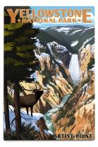 Lantern Press Yellowstone National Park, Wyoming - Artist Point and Elk 48329 (6x9 Aluminum Wall Sign, Wall Decor Ready to Hang)
