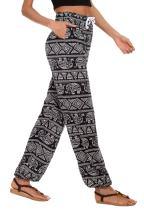 Urban CoCo Women's Floral Print Boho Yoga Pants Harem Pants Jogger Pants (# 9, S)