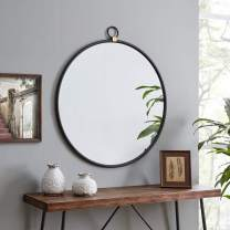 FirsTime & Co. Marshall Black Round Mirror, American Crafted, Satin Black, 32.5 x 1 x 36 ,