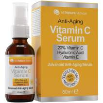 20% Vitamin C Serum Double the size - 2oz Bottle - Made in Canada All Natural 20% Vitamin C + Hyaluronic Acid + Vitamin E-Reverse Skin Aging & Wrinkles and look younger Certified Organic Scent Free Excellent for Sensitive Skin! 100% Guaranteed