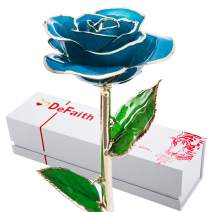 DEFAITH 24K Gold Dipped Real Rose Gifts, Best Wedding Anniversary Valentines Day Love Gift for Her Wife Girlfriend Spouse, Teal Blue with Stand