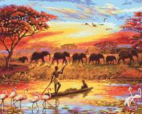 """Various Elephant Series Paint by Numbers for Adults Kids Beginners Easy Acrylic on Canvas 16""""x20""""with Paints and Brushes,Fishermen and Elephants (Without Frame)"""