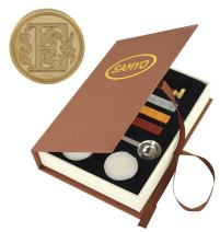 Samyo Wax Seal Stamp Kit Retro Creative Sealing Wax Stamp Maker Gift Box Set Brass Color Head with Vintage Classic Alphabet Initial Letter (E)
