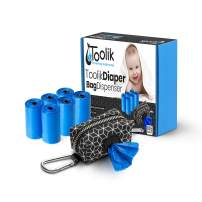 Toolik Diaper Bag Dispenser with 105 Disposable Unscented Waste Bags (7 Refill Rolls) for Baby and Toddler Poop or Dirty Clothes, Essential for Travel and Quick Change on The Go, Black with 3D Cube