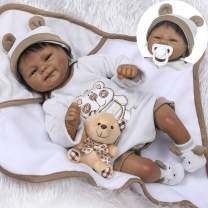 """Pinky 18"""" 45cm Lifelike Reborn Baby Doll Lovely Soft Doll Silicone Realistic Looking Newborn Doll Native American Indian Black Skin Girl Doll Toy"""