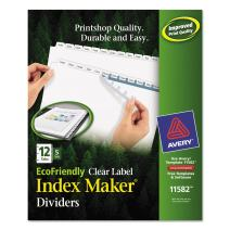 Avery 12-Tab Eco Friendly Binder Dividers, Easy Print & Apply Clear Label Strip, Index Maker, 5 Sets (11582)