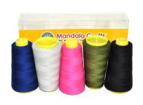 Mandala Crafts Quilting Cotton Thread Cone for Machine and Hand Sewing, 100 Percent Natural Mercerized, 50 wt (5 Rolls 6000 Yards, Black Blue Gray Olive Green Hot Pink Combo 4)