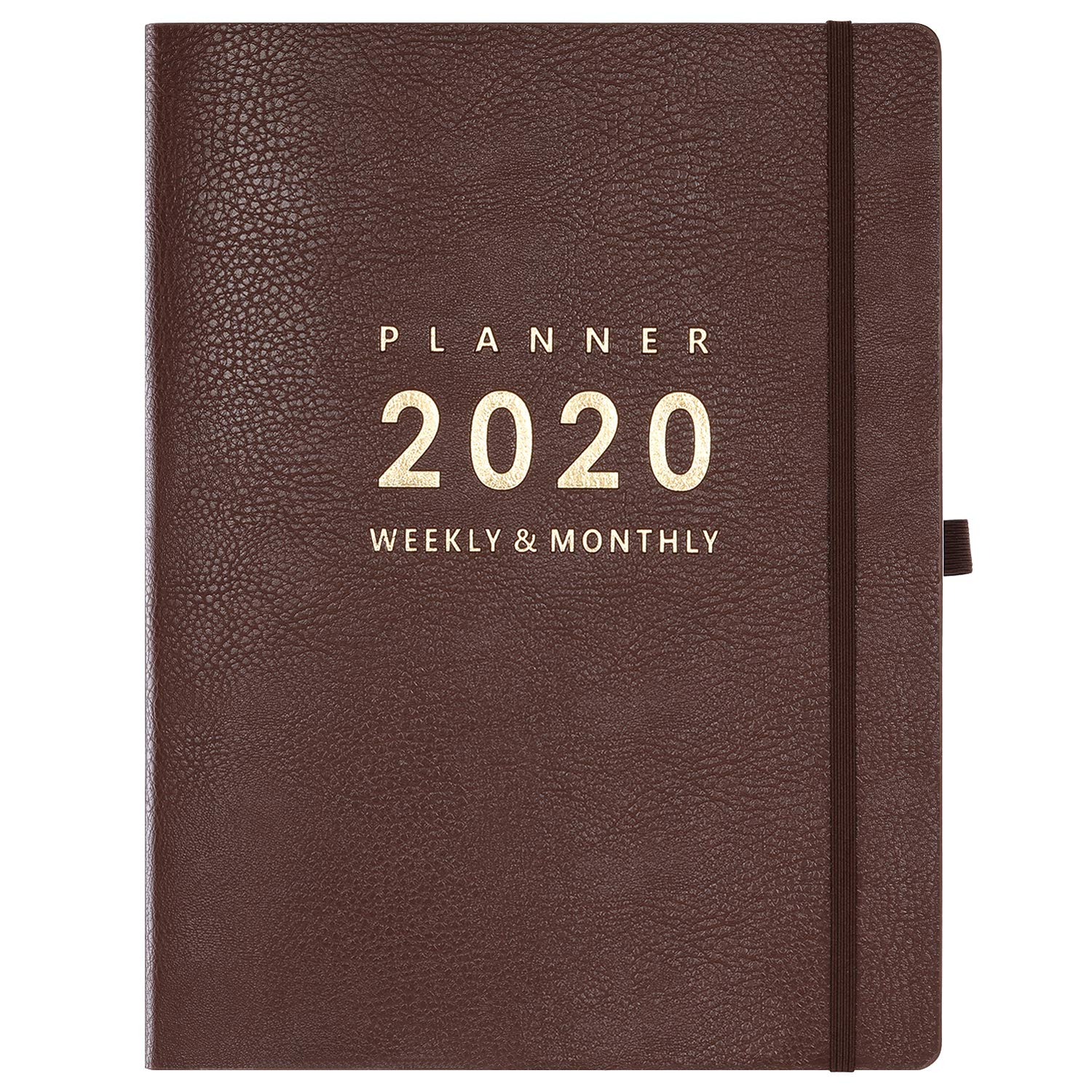 """2020 Planner - Weekly & Monthly Planner, 8.5"""" x 11"""", Soft Cover with Pen Holder and Thick Paper, Back Pocket with Julian Date - Bonus 24 Notes Pages + Gift Box - Brown"""