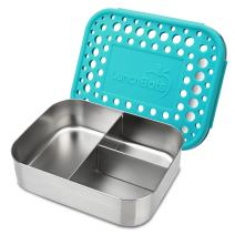 LunchBots Medium Trio II Snack Container - Divided Stainless Steel Food Container - Three Sections for Snacks On the Go - Eco-Friendly, Dishwasher Safe, BPA-Free - Stainless Lid - Aqua Dots