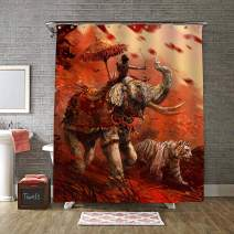 War Animals Elephant and Tiger Charge Forward with a Archer Shower Curtain Set, Premium Waterproof Fabric Men and Kids Boy Bathroom Decorations, Bath Curtains Hooks Included, 72X78 inches, Red