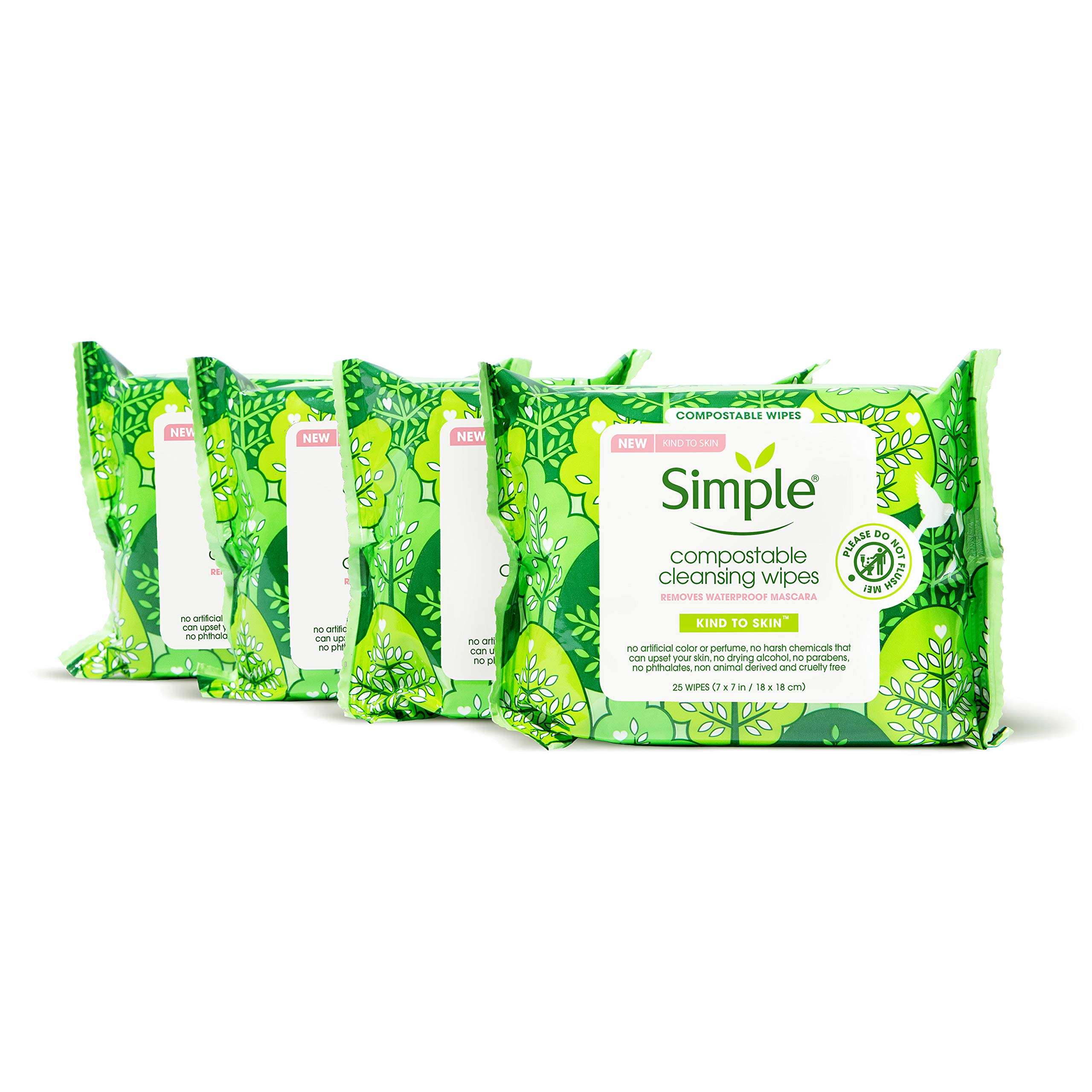 SIMPLE FACE Kind to Skin Cleansing Wipes For Facial Cleansing Compostable Wipes Removes Waterproof Mascara 25 Count, 4 Pack