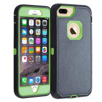 """Co-Goldguard iPhone 7 Plus /8 Plus Case [Litchi Pattern Series] Heavy Duty Armor 3 in 1 with Screen Bumpe Rugged Protective Cover Shockproof Drop-Proof Non-Slip Shell for iPhone 7+/8+ 5.5"""",Black+Green"""