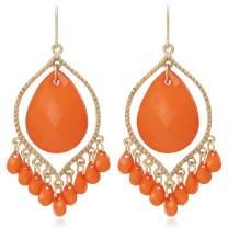 Bohemian Multi Beads Tassel Chandelier Dangle Drop Earrings for Women