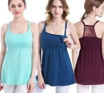 SUIEK 3PACK Women's Nursing Tanks Maternity Tops Racerback Breastfeeding Cami Bra Shirt