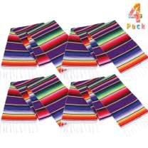 Lansian Mexican Serape Table Runner 14 x 84 Colorful Striped Fringe Cotton for Fiesta Wedding Carnival Cinco De Mayo Party Supplies, 4 Pack