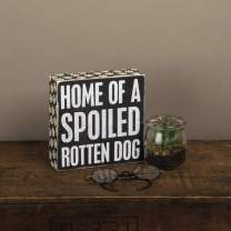 Primitives by Kathy Paw-Print Trimmed Box Sign, 6 x 6-Inches, Spoiled Rotten