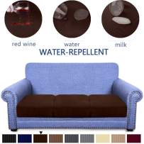 Granbest Premium Water-Repellent Couch Seat Cushion Cover, High Stretch Jacquard Fabric Sofa Seat Slipcover Protector (Chocolate, 3-Piece Sofa Cushion)