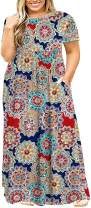 Kancystore Women's Short Sleeve Plus Size Long Maxi Dress with Pockets Loose Casual Summer Dress