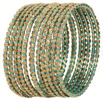 Touchstone New Silk Thread Bangle Collection Indian Bollywood Filigree Hand Woven Silk Designer Jewelry Bangle Bracelets Set of 12 in Antique Gold Tone. for Women.