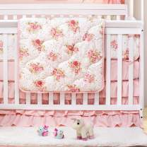 Brandream Crib Bedding Sets for Girls Blush Floral Baby Bedding Crib Set, Luxurious 100% Egyptian Cotton, 3 Pieces, Perfect