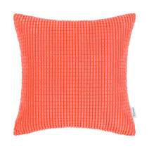 CaliTime Cozy Throw Pillow Cover Case for Couch Sofa Bed Comfortable Supersoft Corduroy Corn Striped Both Sides 16 X 16 Inches Living Coral