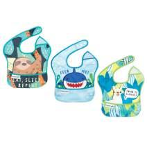 Tiny Twinkle Mess-Proof Easy Bib 3 Pack - Animal Set, Sloth, Shark, Llama - BPA Free flip Pocket Waterproof Baby bib for Infants and Toddlers 6-24 Months