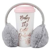 Cozy Winter Travel Mug and Earmuffs Set - Insulated Thermal Tumbler and Adjustable Grey Headband Ear Warmers - Mug Keeps Coffee and Hot Cocoa Warm – Decorative Holiday Gift Set Package