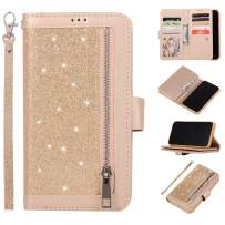 EYZUTAK Wallet Case for iPhone 11 Pro Max 6.5 inch 2019,Magnetic Handbag Zipper Pocket PU Leather Flip with 9 Card Slots and Wrist Strap Folio TPU Inner Stand Case - Gold