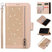 EYZUTAK Wallet Case for iPhone 11 Pro 5.8 inch 2019,Magnetic Handbag Zipper Pocket PU Leather Flip with 9 Card Slots and Wrist Strap Folio TPU Inner Stand Case - Gold