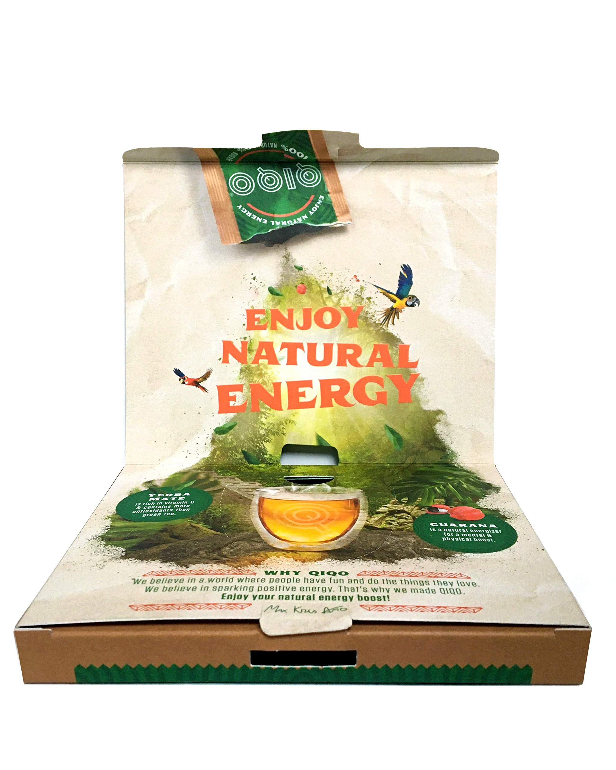 QIQO Natural Energy Tea with High Caffeine for Prolonged Energy & Focus, Zero Sugar. Ingredients Guarana & Yerba Mate with Antioxidants & Vitamin C. Instant Powder. Contains 14 Bags, Made in Belgium