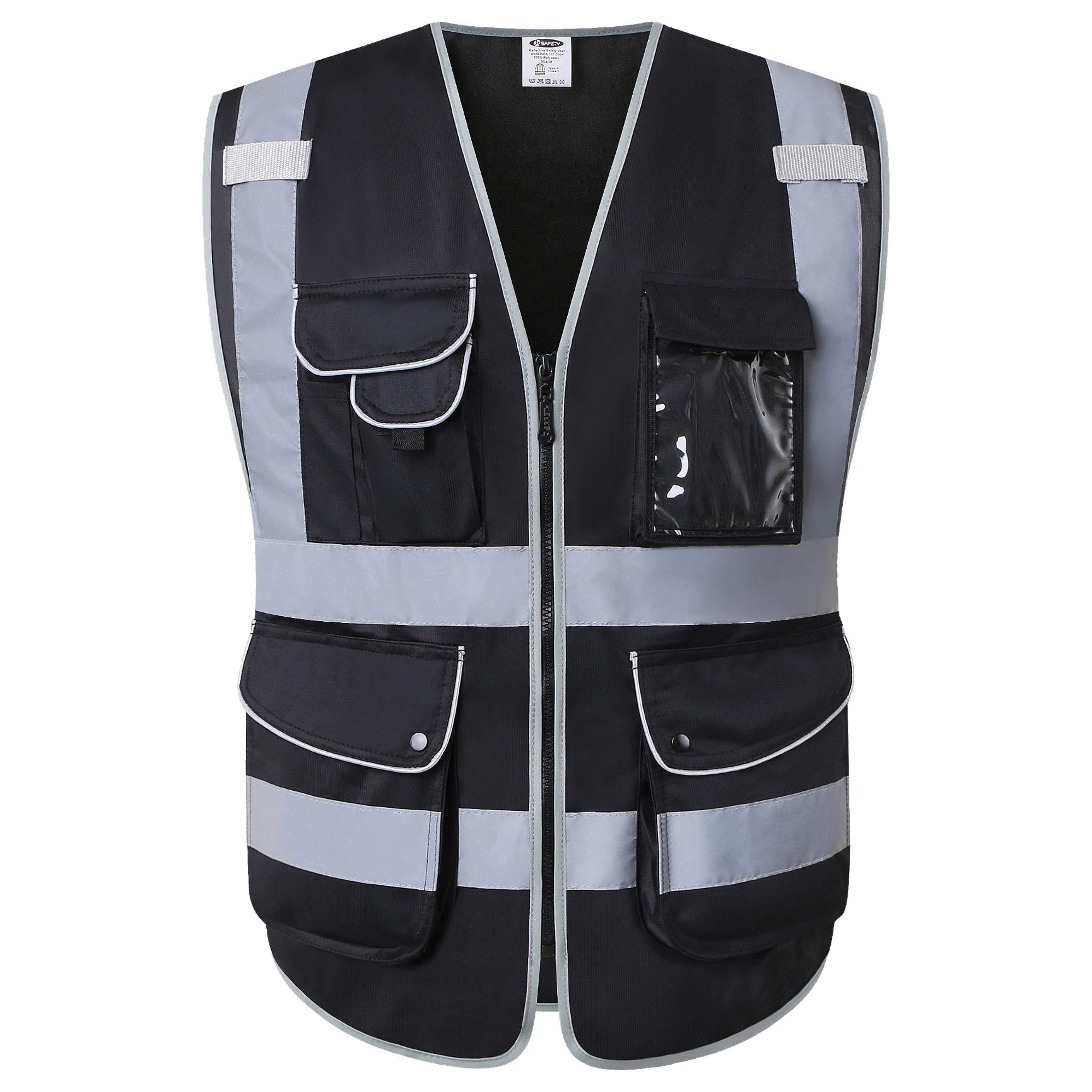 JKSafety 9 Multi-Functional Pockets Zipper Front Safety Vest With Reflective Strips Meet ANSI/ISEA Standards (Black, Large)