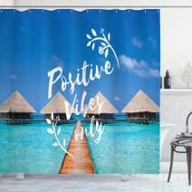 """Ambesonne Saying Shower Curtain, Positive Vibes Only Message Attitude Motivation Inspirational Concept Tropical Scene, Cloth Fabric Bathroom Decor Set with Hooks, 75"""" Long, Blue Turquoise"""