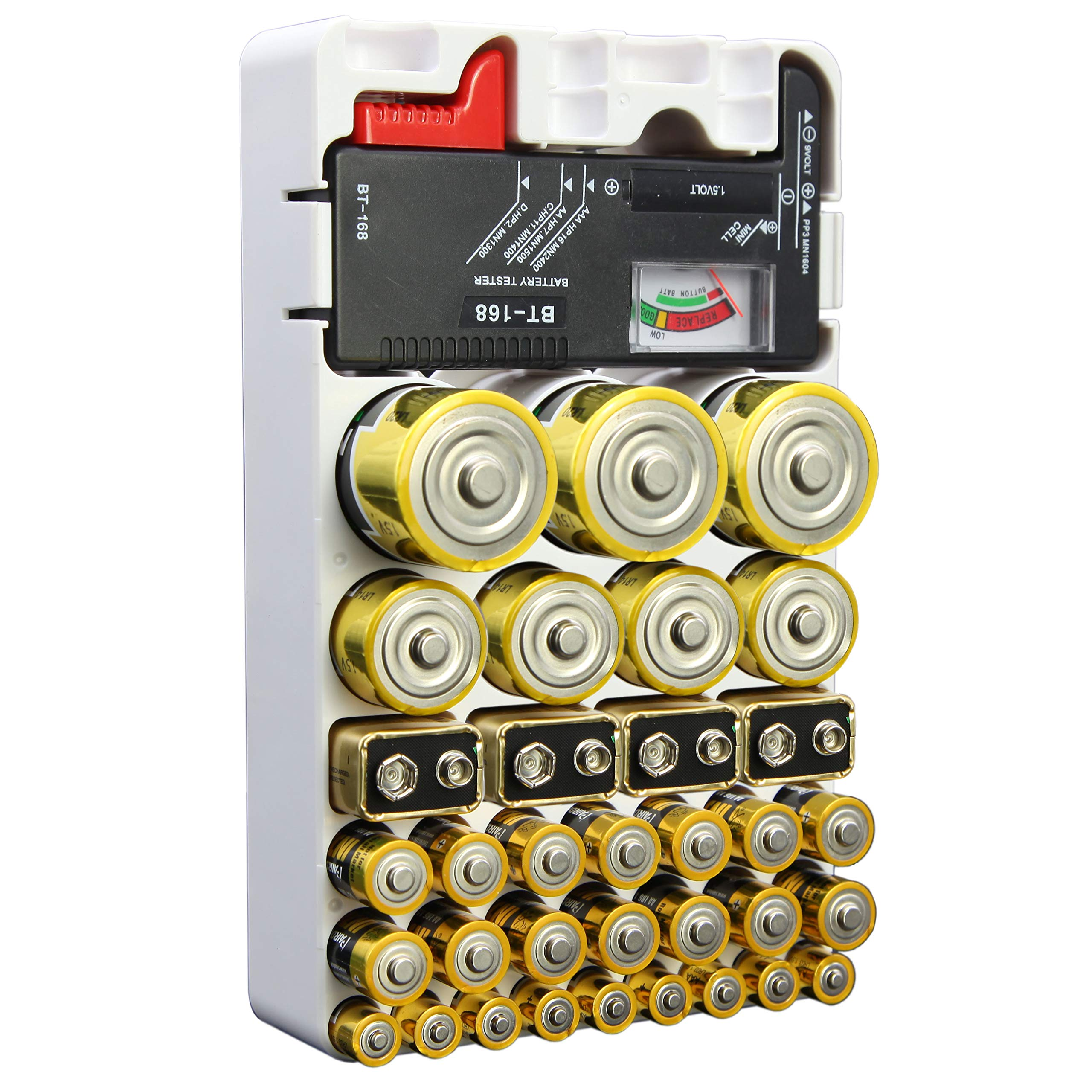 Whizzotech Battery Organizer and Tester for AA AAA C D 9V Battery Storage Case/Holder/Container (Holds 46 Batteries with Tester)