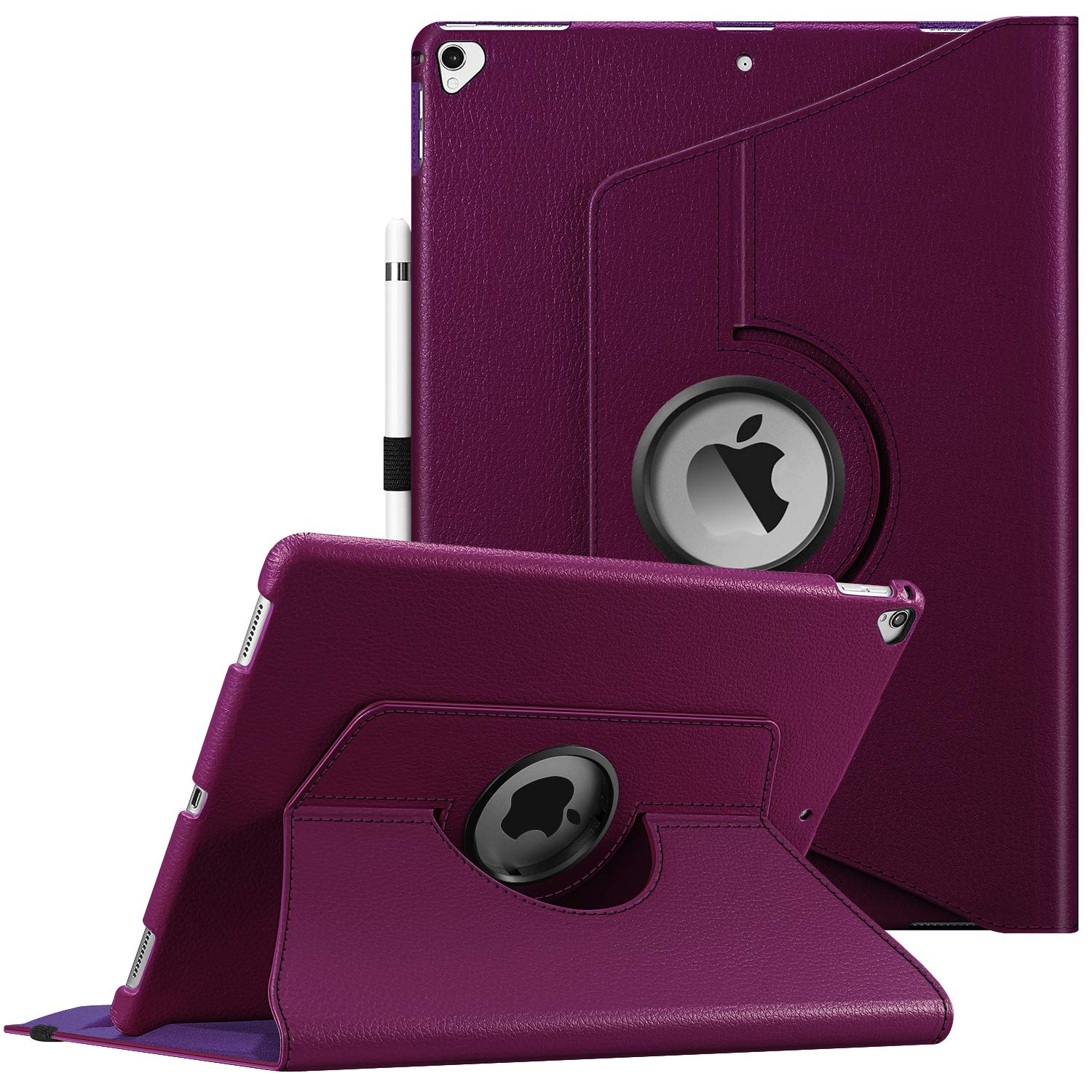 Fintie Rotating Case for iPad Pro 12.9 (2nd Gen) 2017 / iPad Pro 12.9 (1st Gen) 2015-360 Degree Rotating Stand Case with Smart Protective Cover Auto Sleep/Wake, Purple