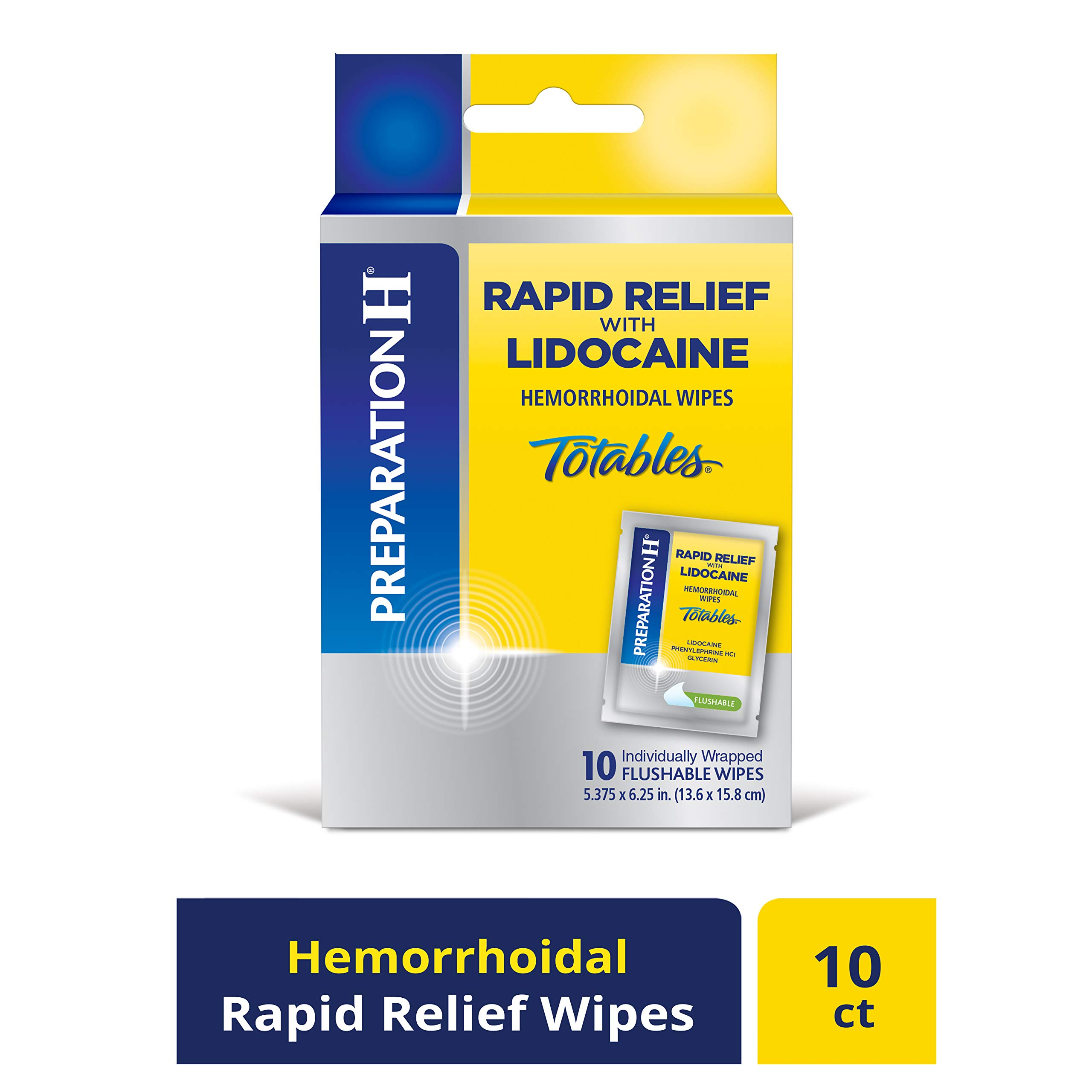 PREPARATION H Rapid Relief with Lidocaine Hemorrhoid Symptom Treatment Flushable Wipes, Numbing Relief for Pain, Burning & Itching, Reduces Swelling, 10 Count