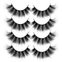 ALICROWN 3D Faux Mink Eyelashes,Fluffy False Lashes Volume Natural Cross Soft Handmade Wispy Eye Makeup