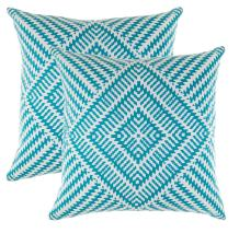 TreeWool, Pack of 2, Throw Pillow Cover Kaleidoscope Accent 100% Cotton Decorative Square Cushion Cases (18 x 18 Inches / 45 x 45 cm; Turquoise & Off White)