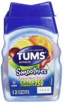 Tums Smoothies, Assorted Fruit, 12 Chewable Tablets,  (Pack of 6)
