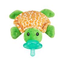 Nookums Paci-Plushies Shakies - Pacifier Holder and Rattle (2 in 1)- Adapts to Name Brand Pacifiers, Suitable for All Ages, Plush Toy Includes Detachable Pacifier (Turtle)