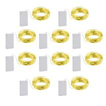 10 Pack Copper Wire String Lights Bendable Battery Operated Powered 10ft 30 Amber Mini Micro Small LEDs Twinkle Fairy Starry Firefly Flora Garland Wreath Craft Bedroom Wedding Christmas Decorations