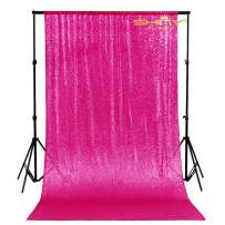 Sequin Curtain Backdrop 2 Panels Fuchsia-4FTx7FT-Glitter Backdrop Curtain Hot Pink Sequin Photo Backdrop -1023E