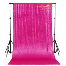 Sequin Curtain Backdrop 2 Panels Fuchsia-4FTx7FT-Glitter Backdrop Curtain Hot Pink Sequin Photo Backdrop -1023E