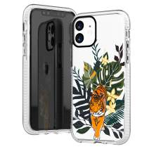iPhone 11 Case Clear,Trendy Tiger with Flowers Floral Bahama Leaves Love Summer Tropical Palm Tree Beach Girly Women Simple Sassy Hipster Soft Protective Clear Design Case Compatible for iPhone 11