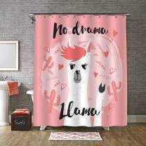 "MitoVilla Cute Llama with No Drama Motivational Quote Shower Curtain, Heart Saguaro Cactus and Alpaca Bathroom Accessories with Curtain Rings for Baby Girls and Women Gifts, Coral, 72"" W x 72"""