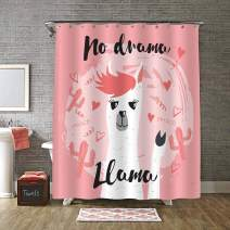 "MitoVilla Cute Llama with No Drama Motivational Quote Shower Curtain, Heart Saguaro Cactus and Alpaca Bathroom Accessories with Curtain Rings for Baby Girls and Women Gifts, Coral, 72"" W x 78"""
