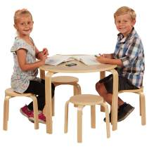 ECR4Kids Bentwood Table and Stool Set for Kids, Natural (5-Piece Set)