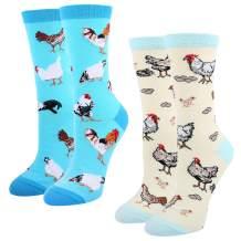 HAPPYPOP Womens Cute Chicken Goat Hen Farm Gift, Novelty Crazy Funny Socks