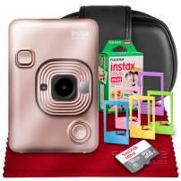 Fujifilm INSTAX Hybrid Mini LIPLAY (Blush Gold) + Fujifilm Instax Mini Instant Film (20 Shots) + Camera Case & 16GB Accessory Bundle (USA Warranty)