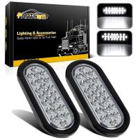 "Partsam 2x Oval Clear Lens White Stop Turn Tail Backup Reverse Fog Lights Lamps Rubber Flush Mount 6"" 24 LED for Truck Trailer Boat RV Waterproof"